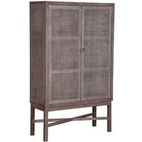 Whitewash Rattan Weave Storage Cupboard