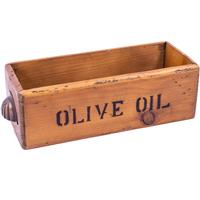 Rustic Timber Storage Box - Olive Oil Drawer Style