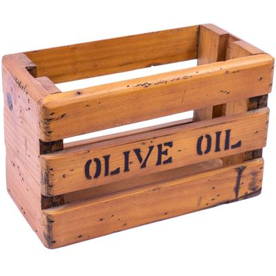 Rustic Timber Storage Box - Olive Oil Slatted