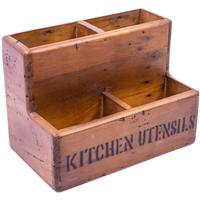 Rustic Timber Storage Box - Kitchen Utensils