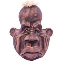 Wall Mounted Ornamental Pottery Face - Serious