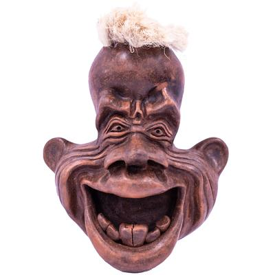 Wall Mounted Ornamental Pottery Face - Toothy Grin