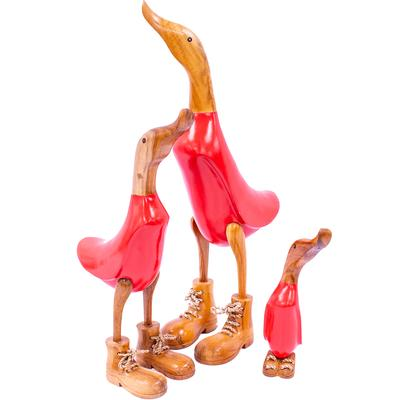 Painted Red Timber Ducks in Boots