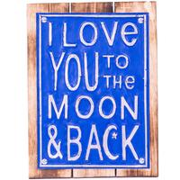 Wall Art Timber & Metal Sign - To the Moon & Back