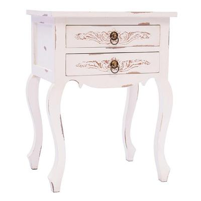 Curved Leg Bedside Cabinet - Distressed White