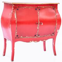 Distressed Red Bombay Cabinet