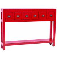 Fire Engine Red - 6 Drawer Console