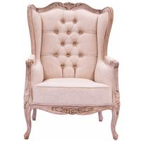 Cream & Natural Timber Wing Back Chair