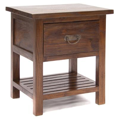 Draw & Shelf Teak Bedside Cabinet