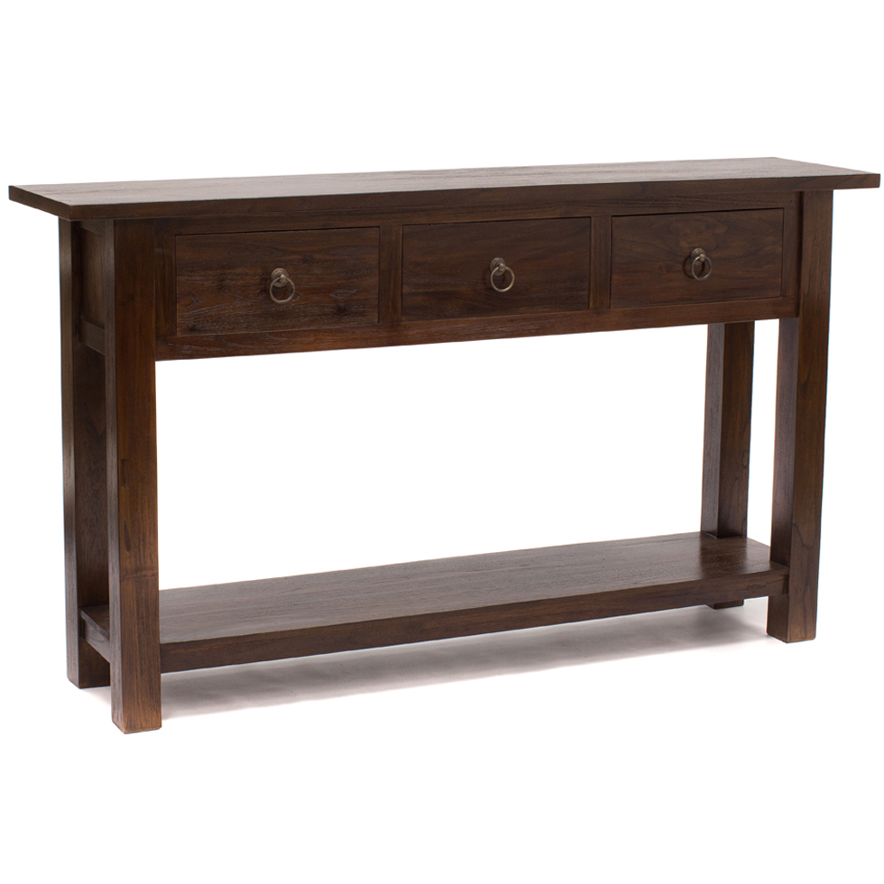 Rustic Teak Console 3 Big Drawers Purchase Online This