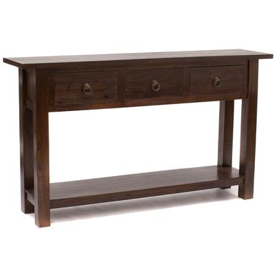 Rustic Teak Console with 3 Big Drawers in medium brown