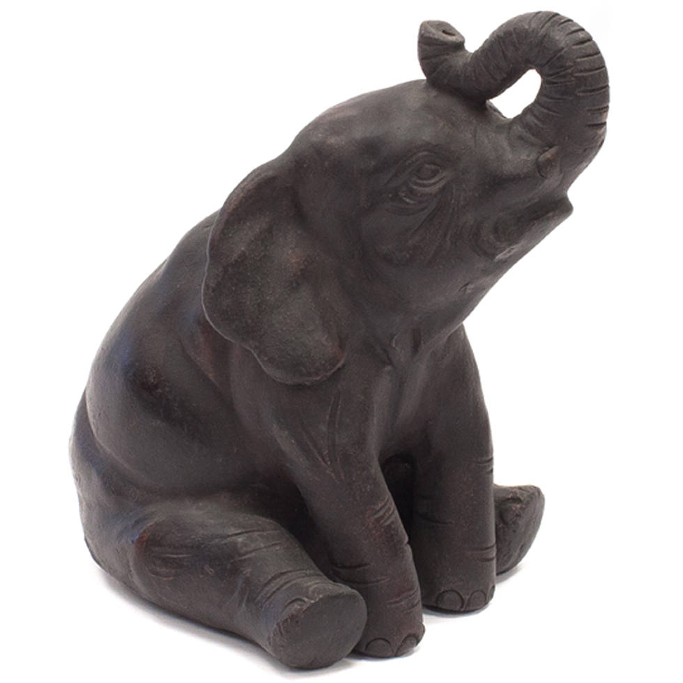 Java Sitting With Trunk Up For Good Luck This Abstract Pottery Elephant Makes The Perfect Gift