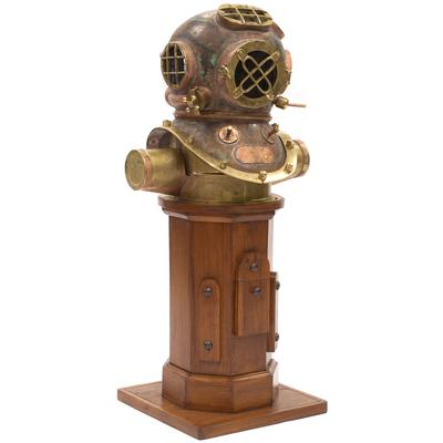 Reproduction Antique Diving Mask & Stand
