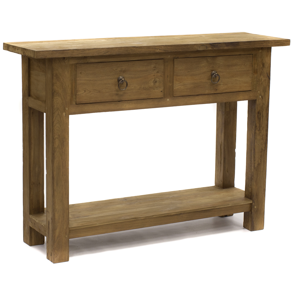 This natural teak console with 3 big drawers features a for Teak wood furniture