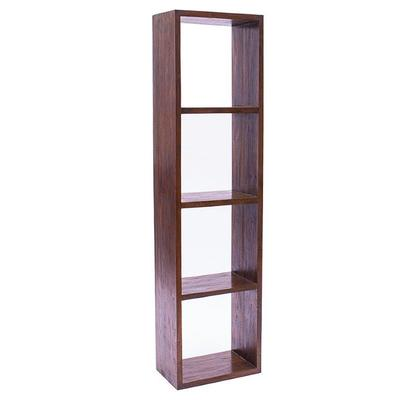 Contemporary 4 Shelf Bookcase in Rustic Teak
